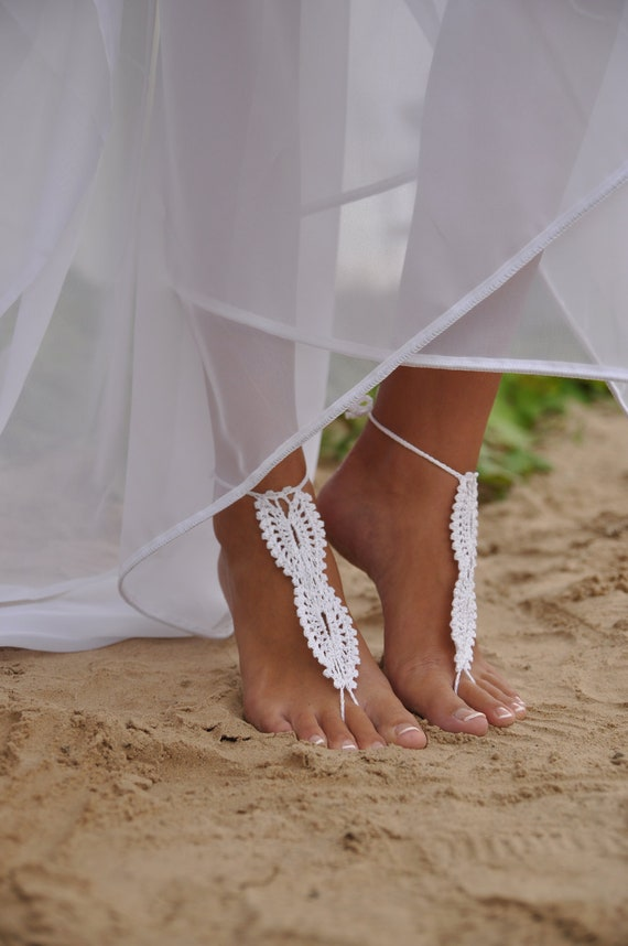 Bridal Barefoot Sandals White crochet barefoot sandals Bridal