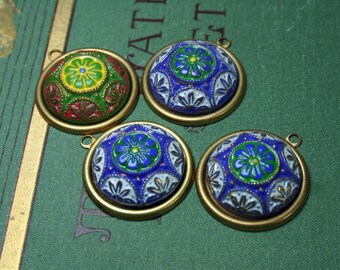 Vintage West German Cabochons Glass Blue and Green Pre-Set Cabochons