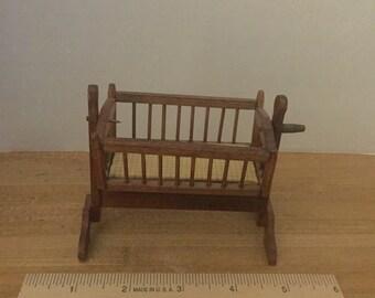 Dollhouse furniture vintage wooden cradle