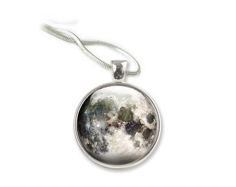 Moon Necklace, Glass Pendant, Full  Moon Silver pendant necklace, Glass Moon Necklace, space necklace, Glass Pendant Necklace Jewellery