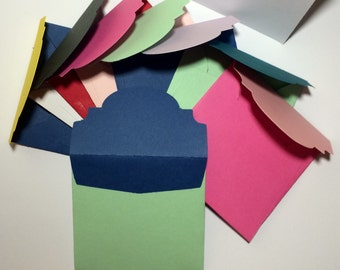 "Square bi-colored envelopes with cards 3x3"" (10)"