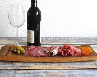 Charcuterie Board - Wooden Cheese Board - Wine Barrel Tray - Engagement Gifts For Couples - Wine Kitchen Decor - Gifts for Foodies