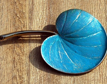 Pastelli Large Leaf Painted (Blue) Gold Tone Brooch