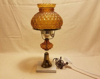 High Quality Vintage Fenton Amber Quilted Pattern Hurricane Student Lamp GWTW