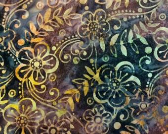 Batavian Batik - FLORAL VINE (ADOBE) - 100% Cotton Premium Fabric - sold by 1/2 yard
