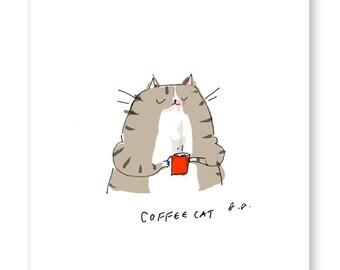 Coffee Cat Print - Coffee Art - Kitchen Art