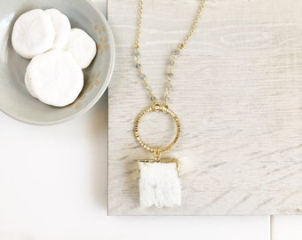 Long White Geode Necklace with Labradorite Beaded Chain. White Stone Long Bohemian Necklace. Long Boho Style Necklace.