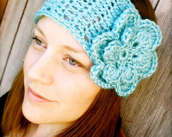 Wide Boho Headband with Flower - INSTANT DOWNLOAD - Crochet Pattern PDF