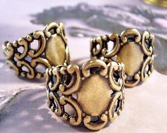 Three Filigree Antique Gold Adjustable Ring Blank Bases