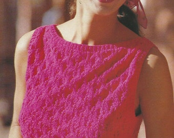 Vintage Summer Fashion Cable Knit Sweater PDF Pattern