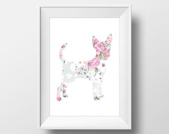 Floral Chihuahua Print, Chihuahua Print, Chihuahua art, Dog decor, Dog lover gift, Chihuahua Wall Art