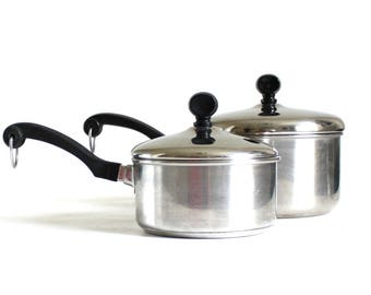 Farberware Cookware Aluminum Clad Stainless Saucepan 2 Qt, Thick Bottom 1 Quart Thailand 18/10 Stainless Steel Pan