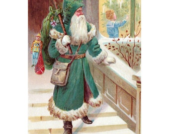 Santa Claus Card - Green Robe Saint Nicholas with Gifts - Holiday Notecard