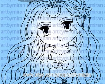 Digital Stamp - Mia(#218), Digi Stamp, Coloring page, Printable Line art for Card and Craft Supply
