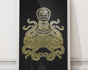 Squid Hand Illustrated Foiled Unframed Print | Squid Print | Hand Illustrated | Gold Foiled | Copper Foiled | Silver Foiled