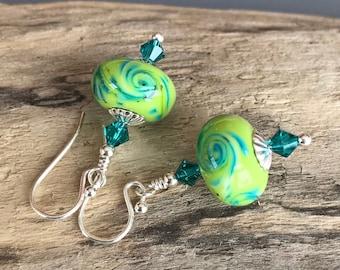 Turquoise and Lime Lampwork Glass Earrings / Summer Earrings / Lime and Teal Blue Lampwork Earrings / Swarovski Crystal Lampwork Earrings