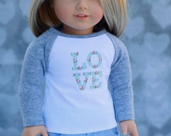 Doll Clothes | Trendy Cloud Grey with Mint Floral Love Graphic Long Sleeve Fitted BASEBALL TEE for 18 Inch Doll