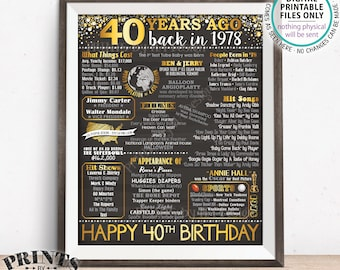 """40th Birthday Gift, Born in 1978 Birthday Flashback 40 Years Back in 1978 B-day, Gold, PRINTABLE 8x10/16x20"""" Chalkboard Style Sign <ID>"""