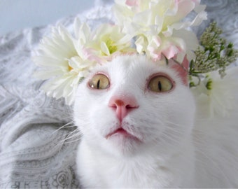 Cat + Dog Flower Crown  Cat Clothes, Handmade Flower Crown, Cat Apparel, Pink Flowers, Dog Clothes, Dog Flower Crown
