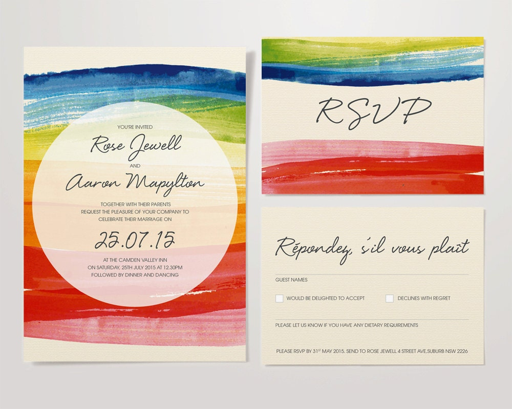 Wedding Rainbow Watercolour Stationery Set Invite & RSVP