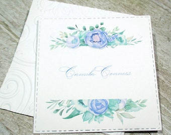 Blue Flowers Personalized Enclosure Cards - Gift Enclosure Cards - Calling Cards - Set of 24 - Trend - Flat - One sided - Embossed edge
