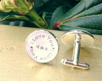 Groom Gift, Groom Cufflinks, Personalized Cufflinks, Custom Cufflinks, Gift from Bride, Monogram Cufflinks, Cufflinks for Groom, Cuff Links