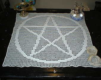 Pentacle Altar Cloth Doily in White