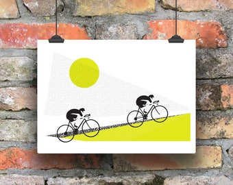 Sunrise Ride /  Giclee Cycling Print