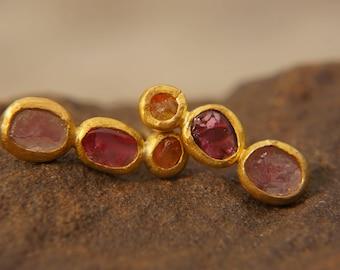 solid 24k gold//orange sapphire red & pink tourmaline Stud //gem stud earrings//24k gold earrings//raw gem earrings//handmade gold studs