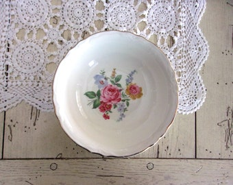 Scio Pottery, Vintage Rose China Bowl, Bridal Luncheon Decor, Tea Party China