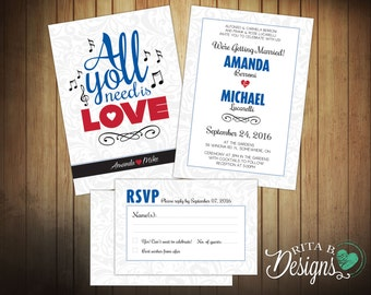 All You Need Is Love Wedding Invitation & RSVP / Reply Card, Music Theme, DIY Printable, Custom Colours