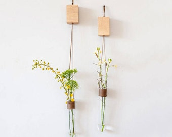 Glass Wall Vases For Flowers, Wall Test Tube Vase, Hanging Wall Vase, Wall Vase Holder, Wall Vase Decor, Unique Home Accessory, Office Decor