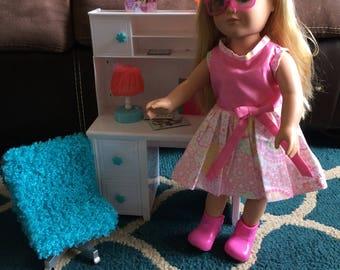 Pink 18 inch doll dress