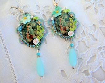 Vintage mermaid earrings floral earrings mermaids