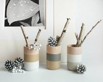 Wooden Vases - Home Decor - Winter - beige gray Set of 3 - gift for Her