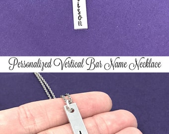 Personalized Name Necklace, Vertical Bar Necklace, Bachelorette Party, Skinny Bar Necklace, Layering Necklace, Birthday Gift Bridesmaid Gift