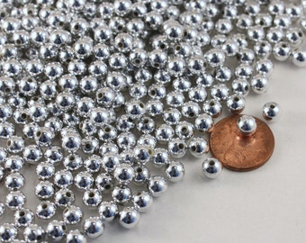 Small Silver Plated Acrylic Beads, 6mm Round, Wholesale Loose Beads, 2 oz. package