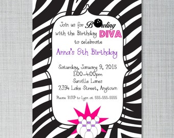 Diva Bowling Birthday Invitation - Zebra or Other Background -  You Print