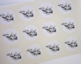 Cupid Stickers One Inch Round Seals