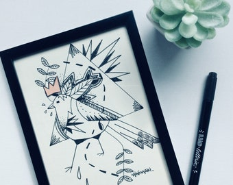 illustration bird tattoo old school geometric original