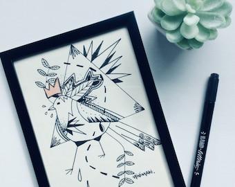illustration bird tattoo old school geometric original