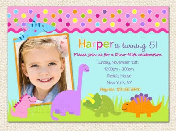 Dinosaur birthday invitations for girl filmwisefo