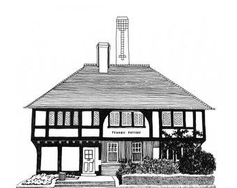 Pewabic Pottery, Detroit Giclee Print 8x10