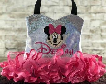 Pink and White Polka Dot Sweetheart Bag With Pink and White Polka Dot Ribbon Trim Tutu - Dance Bag - Ballerina Tutu Bag - Birthday Present