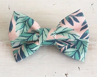 Tropical Palm Leaves Dog Bow Tie