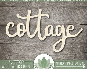Wood Word Cottage Cut Out, Wooden Cottage Sign, Unfinshed Wood Words For DIY Projects, Cottage Decor, Laser Cut Wood Words, Gallery Wall