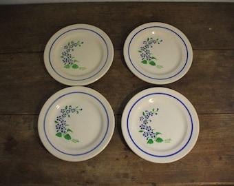 "4 plates dessert ""Niderviller"" blue flowers decor"