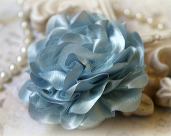 Tresors   Light Blue Satin and Tulle Fabric Flowers, for Headbands, Clothing, Sashes, Altered Art, approx. 4 inches across, EM-016