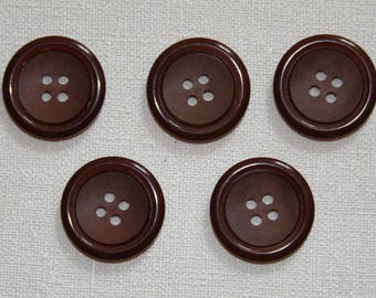 Set of 5 round vintage buttons. Brown buttons.  B34