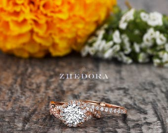 2.15 CT Round Cut Engagement Ring set in Solid 14k/ 18k Rose Gold Bridal, Moissanite Wedding Set ,White Sapphire Bridal Set, Moissanite Ring